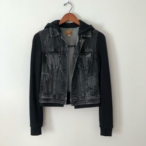 Black Denim/Hoodie Jacket From American Eagle